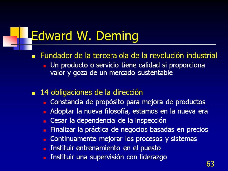 63 Edward W. Deming Fundador de la tercera ola de la revolución industrial Un producto o servicio tiene calidad si proporciona valor y goza de un merc