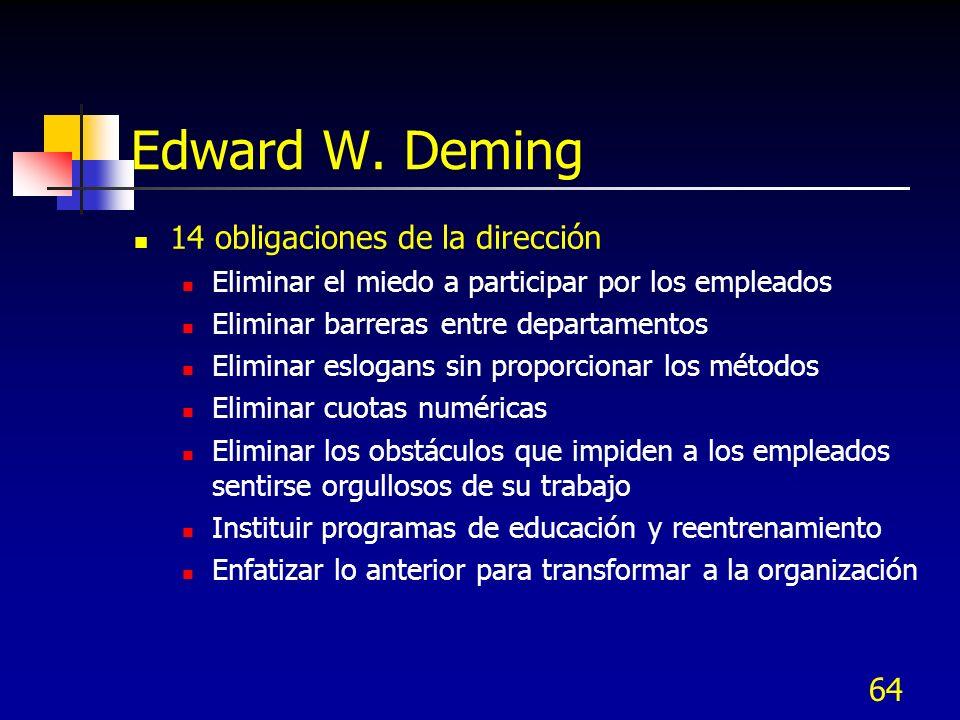 64 Edward W. Deming 14 obligaciones de la dirección Eliminar el miedo a participar por los empleados Eliminar barreras entre departamentos Eliminar es