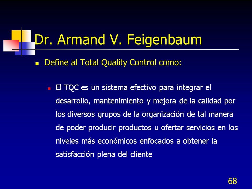 68 Dr. Armand V. Feigenbaum Define al Total Quality Control como: El TQC es un sistema efectivo para integrar el desarrollo, mantenimiento y mejora de