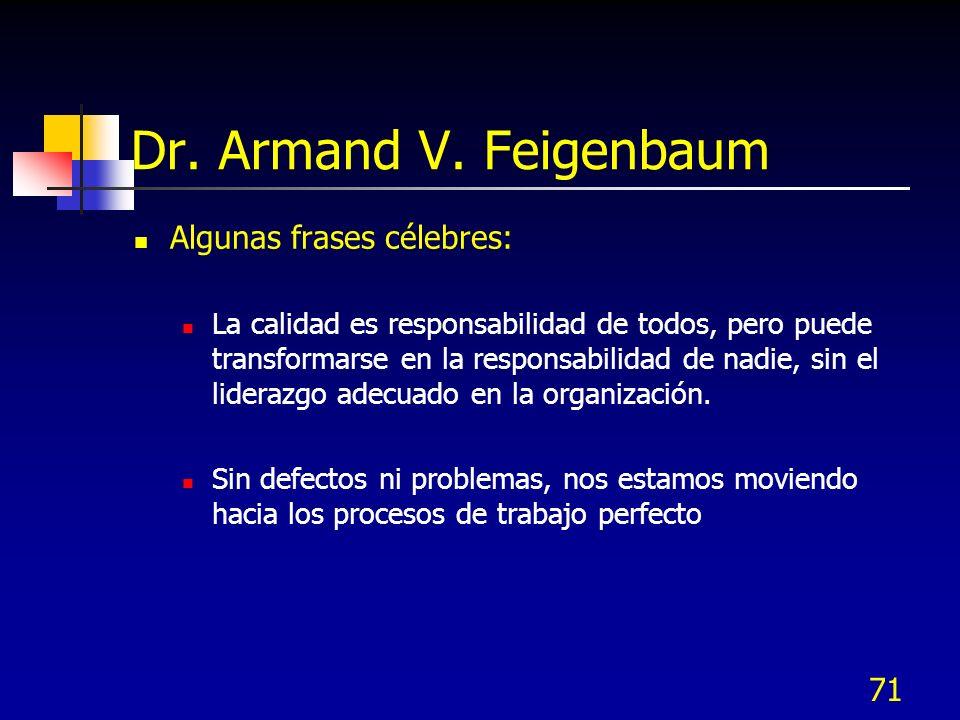 71 Dr. Armand V. Feigenbaum Algunas frases célebres: La calidad es responsabilidad de todos, pero puede transformarse en la responsabilidad de nadie,