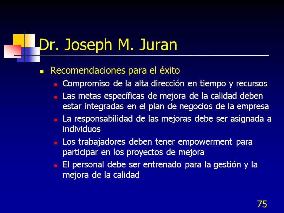 75 Dr. Joseph M. Juran Recomendaciones para el éxito Compromiso de la alta dirección en tiempo y recursos Las metas específicas de mejora de la calida