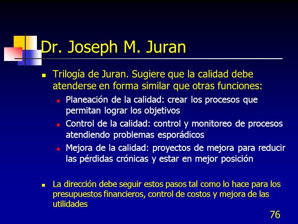 76 Dr. Joseph M. Juran Trilogía de Juran. Sugiere que la calidad debe atenderse en forma similar que otras funciones: Planeación de la calidad: crear