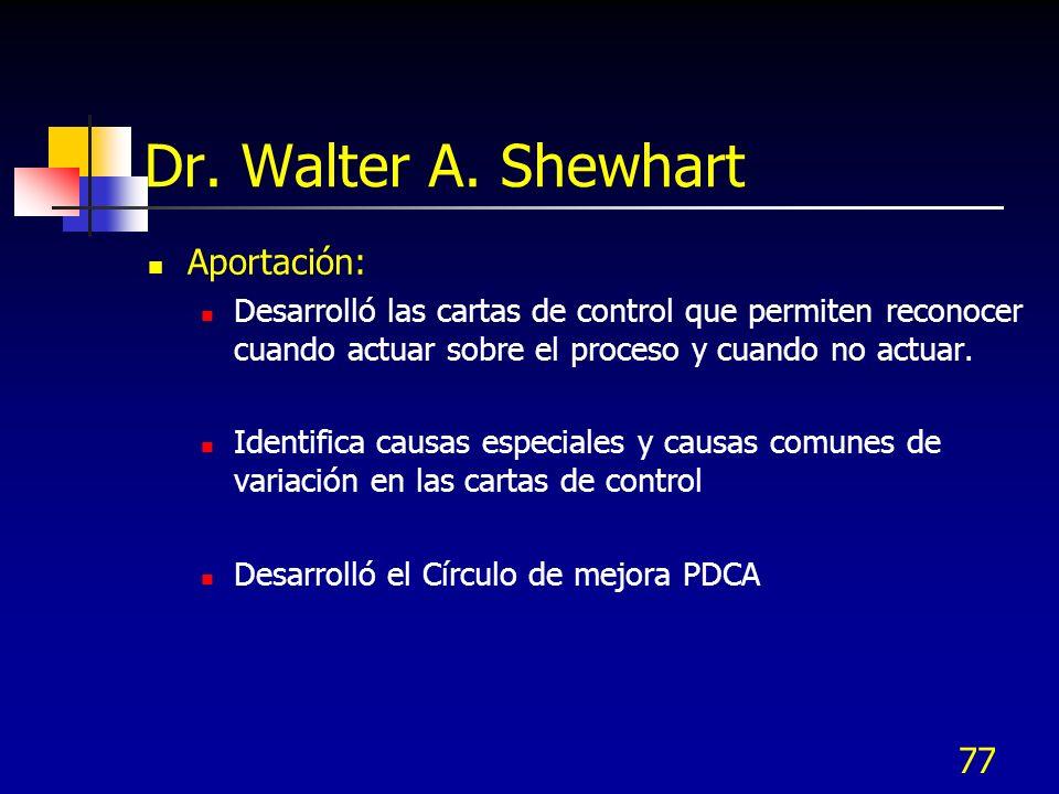 77 Dr. Walter A. Shewhart Aportación: Desarrolló las cartas de control que permiten reconocer cuando actuar sobre el proceso y cuando no actuar. Ident