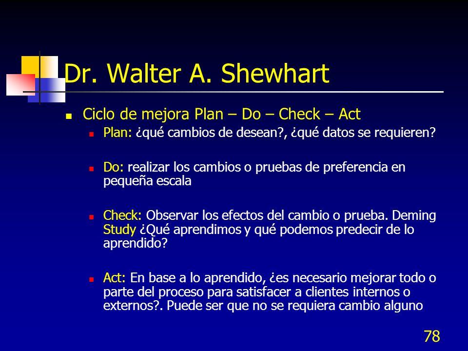 78 Dr. Walter A. Shewhart Ciclo de mejora Plan – Do – Check – Act Plan: ¿qué cambios de desean?, ¿qué datos se requieren? Do: realizar los cambios o p