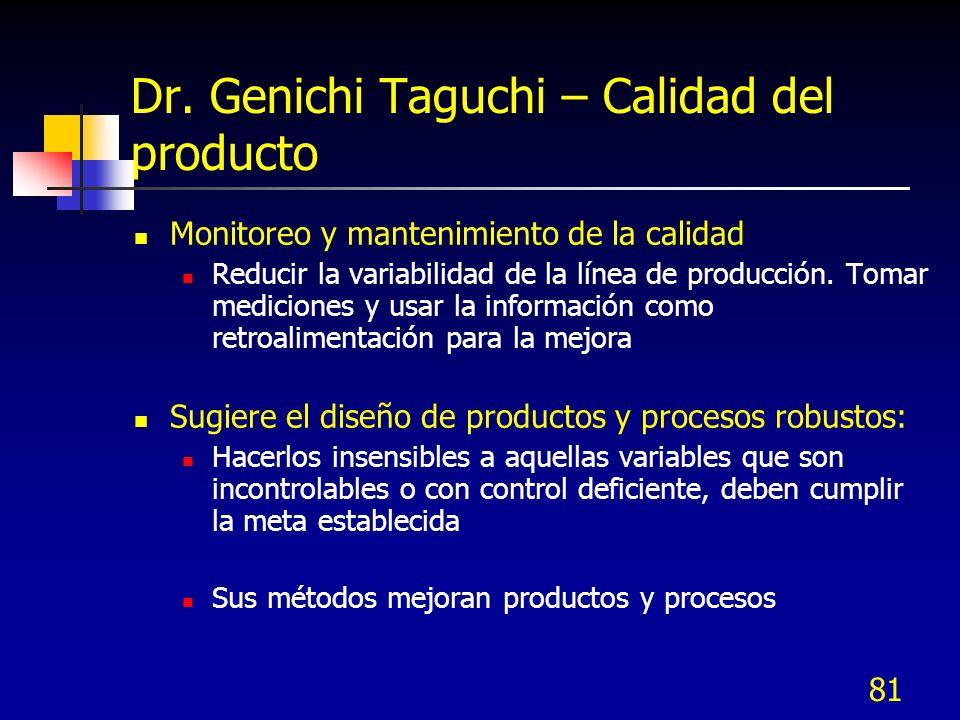 81 Dr. Genichi Taguchi – Calidad del producto Monitoreo y mantenimiento de la calidad Reducir la variabilidad de la línea de producción. Tomar medicio