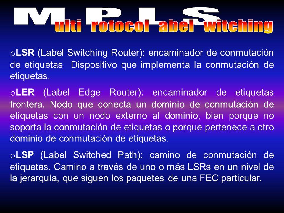 o LSR (Label Switching Router): encaminador de conmutación de etiquetas Dispositivo que implementa la conmutación de etiquetas. o LER (Label Edge Rout