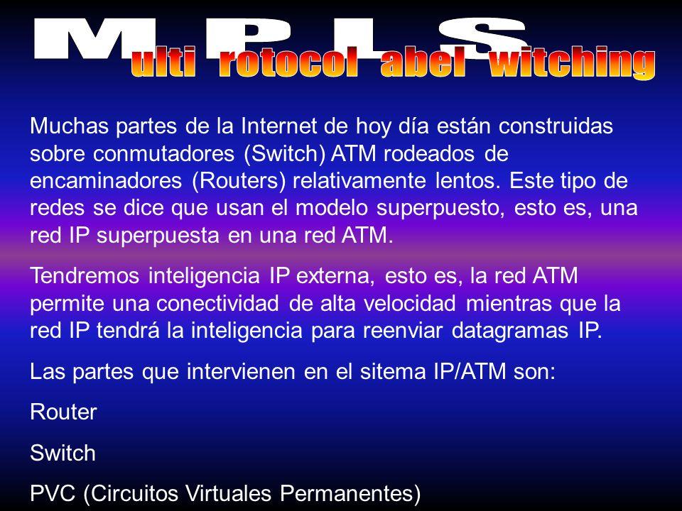 Muchas partes de la Internet de hoy día están construidas sobre conmutadores (Switch) ATM rodeados de encaminadores (Routers) relativamente lentos. Es