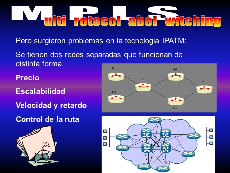 Los Problemas de IP/ATM solucionados por MPLS: Precio – Solucionado con LSR y una sola administración Escalabilidad - Solucionado al no requerir tantas interconexiones Velocidad y retardo -Solucionado al funcionamiento del LSR, esmas facil conmutar etiquetas que datagramas IP Control de la ruta -La FEC permite una manipulación del trafico de datos.