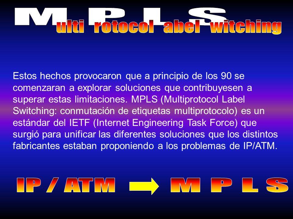 Estos hechos provocaron que a principio de los 90 se comenzaran a explorar soluciones que contribuyesen a superar estas limitaciones. MPLS (Multiproto