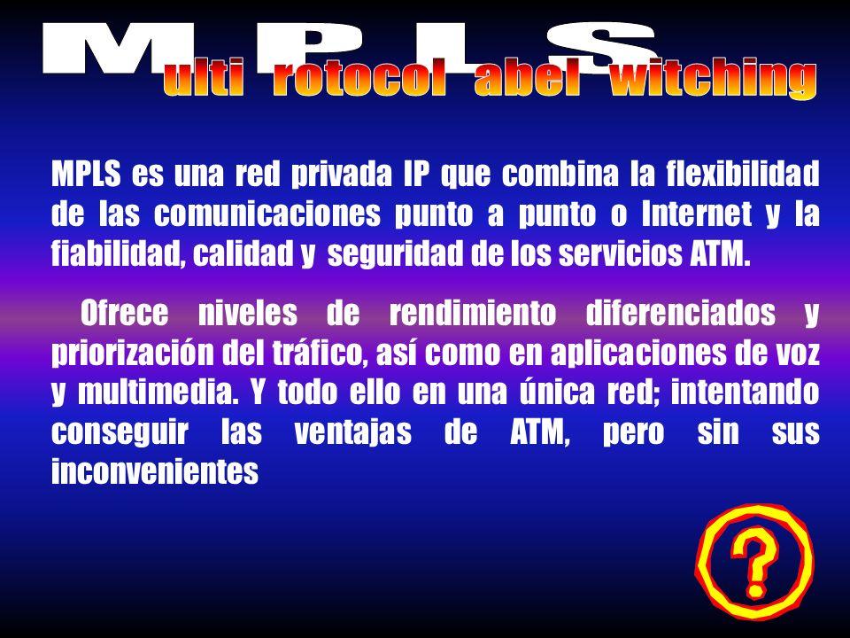 MPLS es una red privada IP que combina la flexibilidad de las comunicaciones punto a punto o Internet y la fiabilidad, calidad y seguridad de los serv
