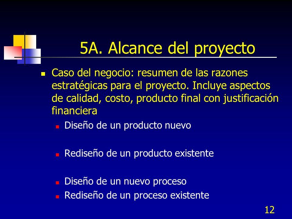 12 5A. Alcance del proyecto Caso del negocio: resumen de las razones estratégicas para el proyecto. Incluye aspectos de calidad, costo, producto final