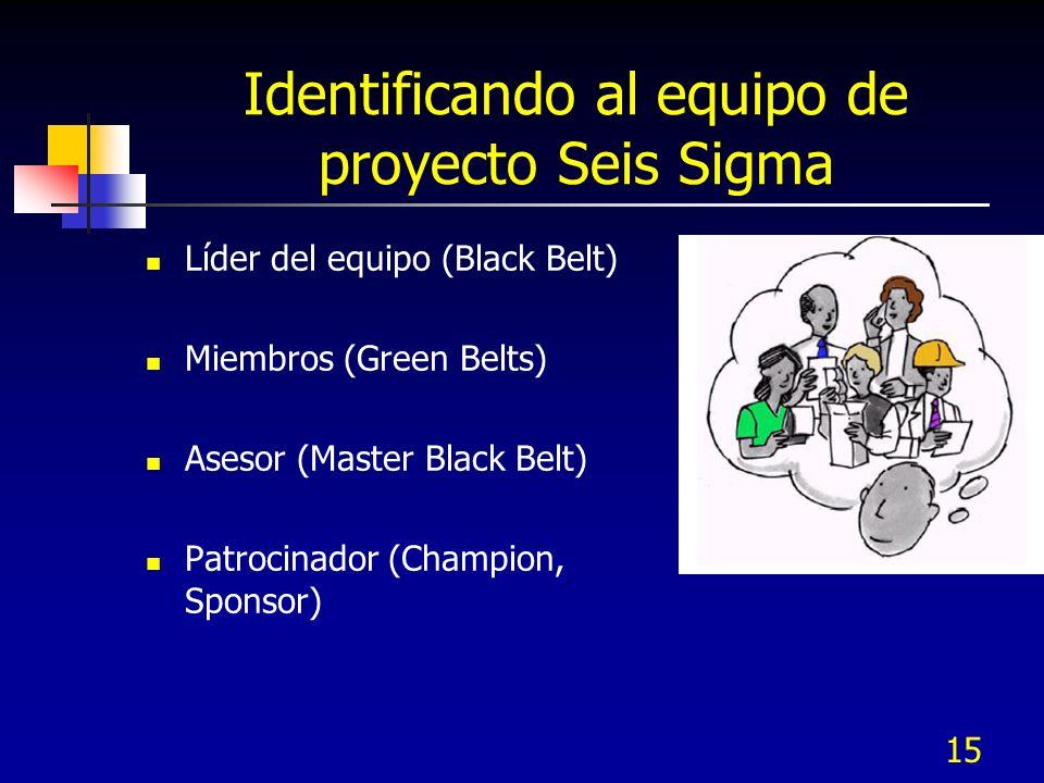 15 Identificando al equipo de proyecto Seis Sigma Líder del equipo (Black Belt) Miembros (Green Belts) Asesor (Master Black Belt) Patrocinador (Champi