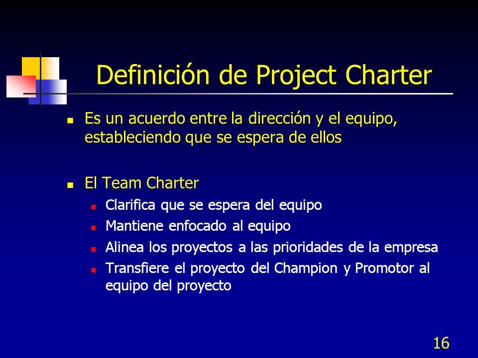 16 Definición de Project Charter Es un acuerdo entre la dirección y el equipo, estableciendo que se espera de ellos El Team Charter Clarifica que se e