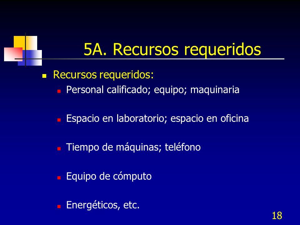 18 5A. Recursos requeridos Recursos requeridos: Personal calificado; equipo; maquinaria Espacio en laboratorio; espacio en oficina Tiempo de máquinas;
