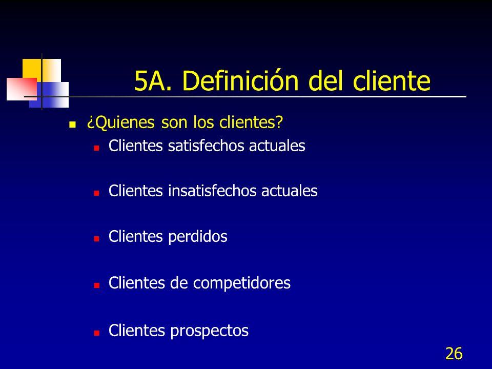 26 5A. Definición del cliente ¿Quienes son los clientes? Clientes satisfechos actuales Clientes insatisfechos actuales Clientes perdidos Clientes de c
