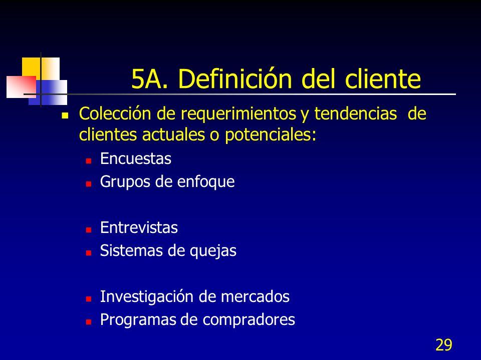 29 5A. Definición del cliente Colección de requerimientos y tendencias de clientes actuales o potenciales: Encuestas Grupos de enfoque Entrevistas Sis