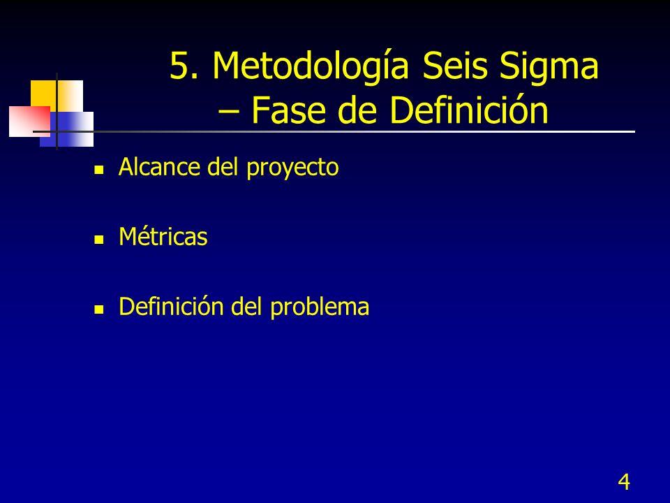 4 5. Metodología Seis Sigma – Fase de Definición Alcance del proyecto Métricas Definición del problema