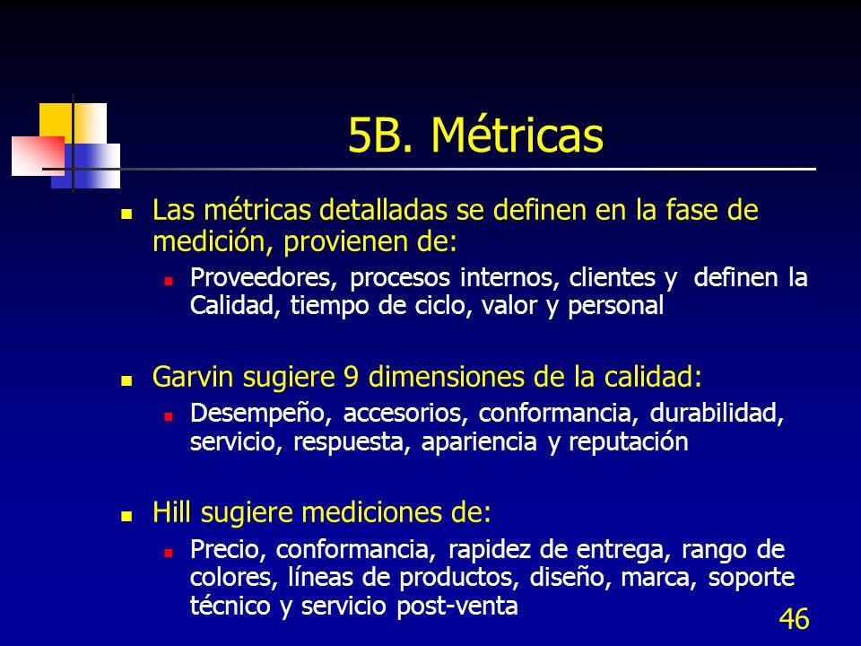46 5B. Métricas Las métricas detalladas se definen en la fase de medición, provienen de: Proveedores, procesos internos, clientes y definen la Calidad