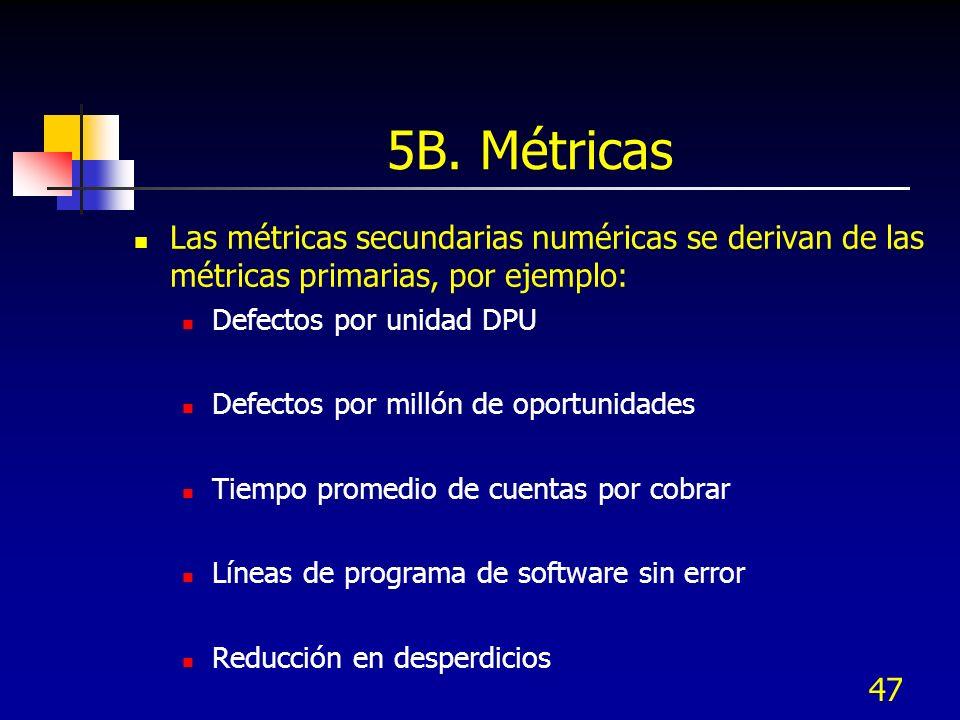 47 5B. Métricas Las métricas secundarias numéricas se derivan de las métricas primarias, por ejemplo: Defectos por unidad DPU Defectos por millón de o