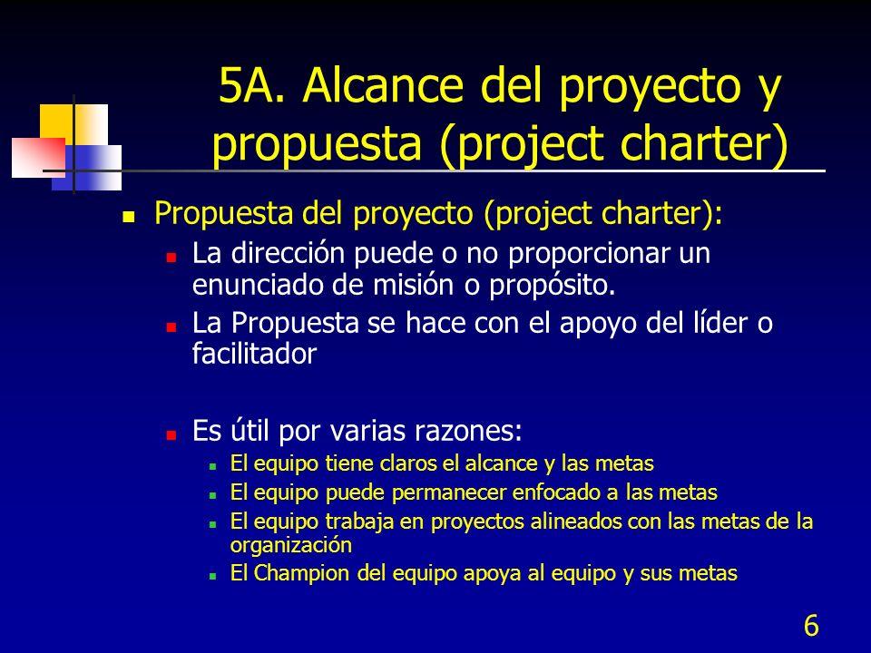 6 5A. Alcance del proyecto y propuesta (project charter) Propuesta del proyecto (project charter): La dirección puede o no proporcionar un enunciado d