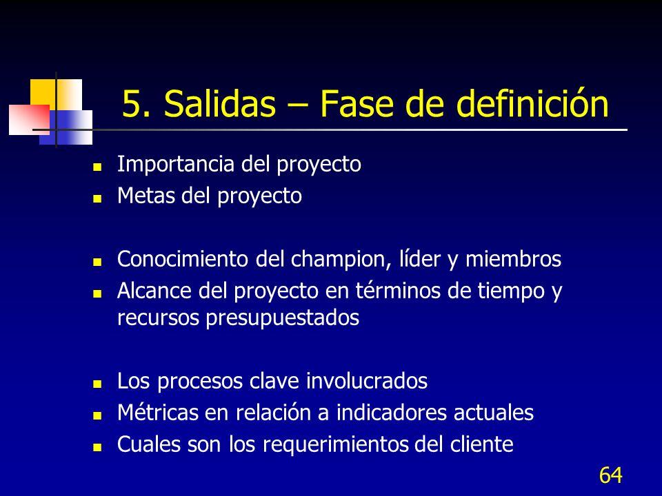 64 5. Salidas – Fase de definición Importancia del proyecto Metas del proyecto Conocimiento del champion, líder y miembros Alcance del proyecto en tér