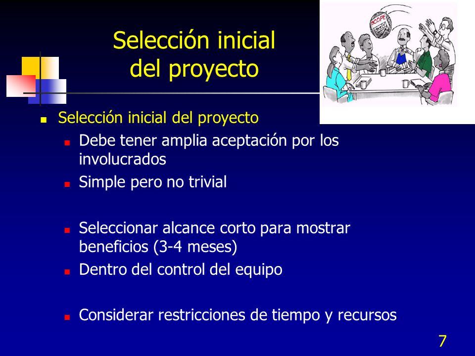 7 Selección inicial del proyecto Debe tener amplia aceptación por los involucrados Simple pero no trivial Seleccionar alcance corto para mostrar benef