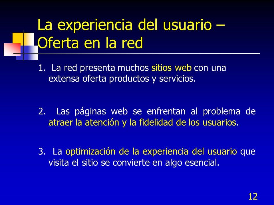 12 La experiencia del usuario – Oferta en la red 1. La red presenta muchos sitios web con una extensa oferta productos y servicios. 2. Las páginas web