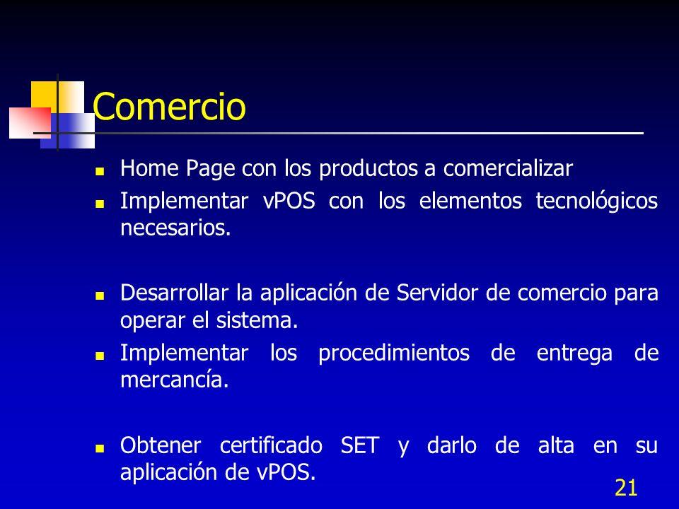 21 Comercio Home Page con los productos a comercializar Implementar vPOS con los elementos tecnológicos necesarios. Desarrollar la aplicación de Servi