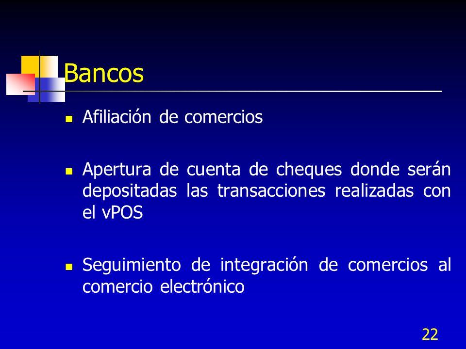 22 Bancos Afiliación de comercios Apertura de cuenta de cheques donde serán depositadas las transacciones realizadas con el vPOS Seguimiento de integr