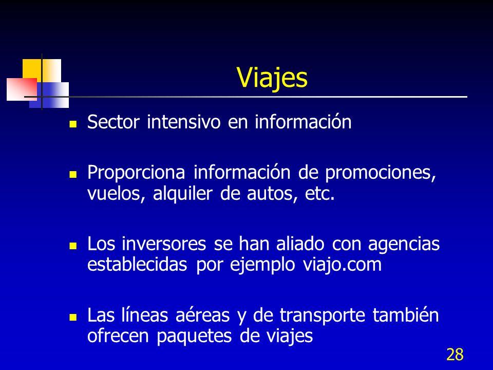 28 Viajes Sector intensivo en información Proporciona información de promociones, vuelos, alquiler de autos, etc. Los inversores se han aliado con age