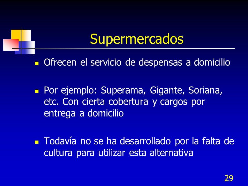 29 Supermercados Ofrecen el servicio de despensas a domicilio Por ejemplo: Superama, Gigante, Soriana, etc. Con cierta cobertura y cargos por entrega