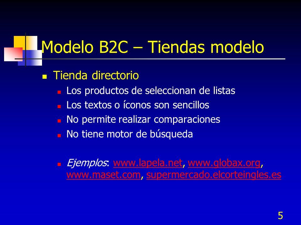 5 Modelo B2C – Tiendas modelo Tienda directorio Los productos de seleccionan de listas Los textos o íconos son sencillos No permite realizar comparaci