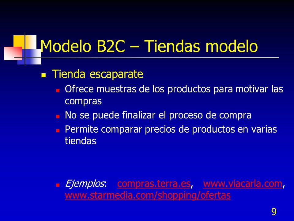 9 Modelo B2C – Tiendas modelo Tienda escaparate Ofrece muestras de los productos para motivar las compras No se puede finalizar el proceso de compra P