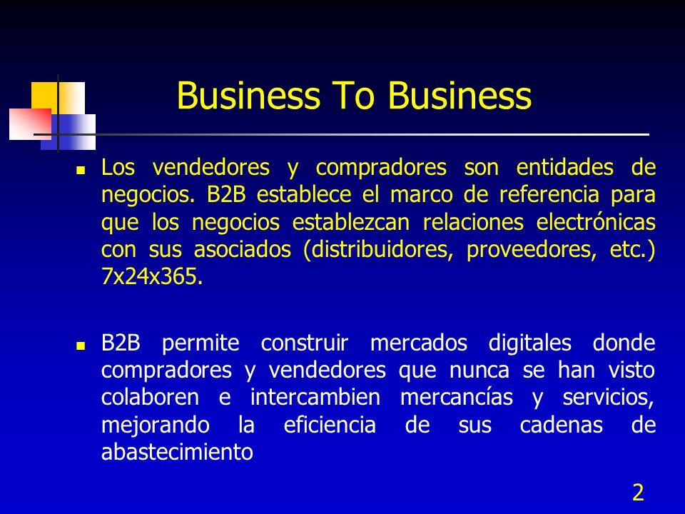 2 Business To Business Los vendedores y compradores son entidades de negocios. B2B establece el marco de referencia para que los negocios establezcan