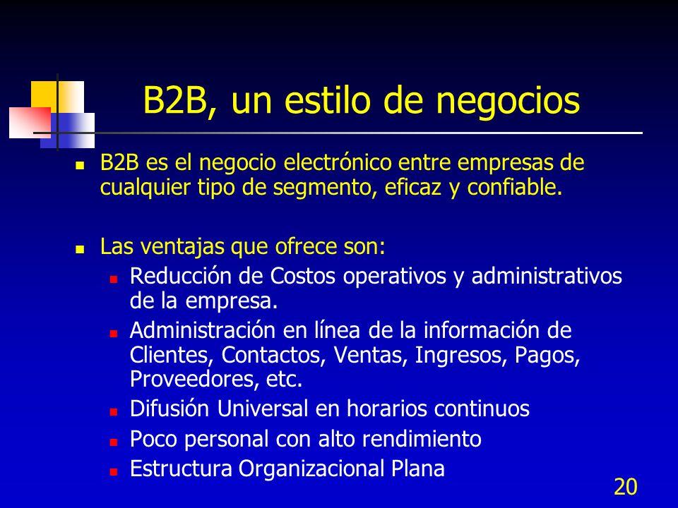20 B2B, un estilo de negocios B2B es el negocio electrónico entre empresas de cualquier tipo de segmento, eficaz y confiable. Las ventajas que ofrece