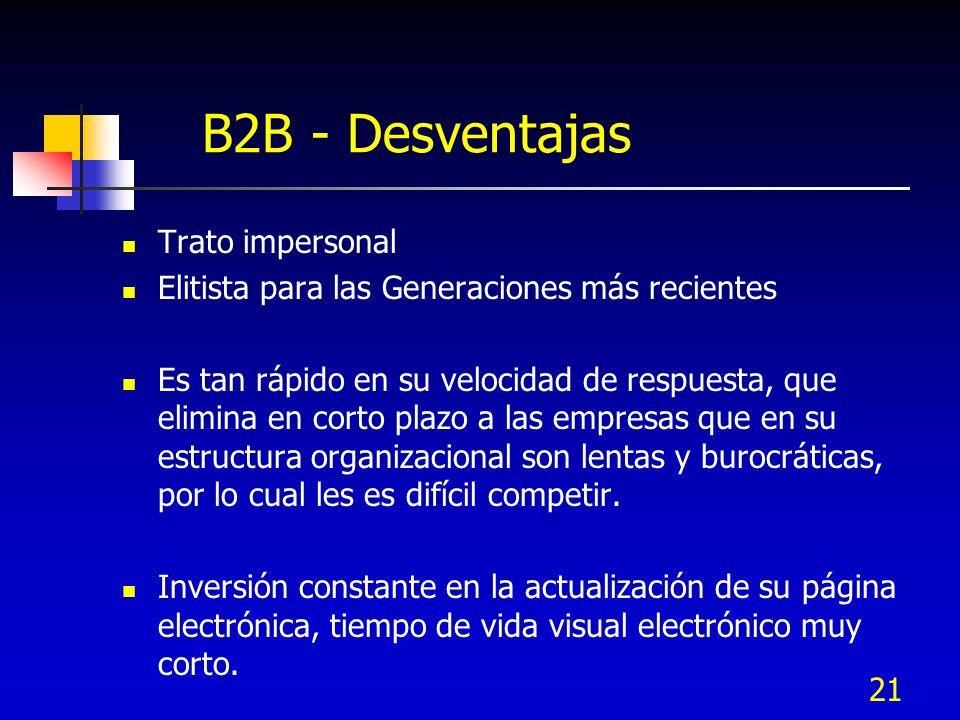 21 B2B - Desventajas Trato impersonal Elitista para las Generaciones más recientes Es tan rápido en su velocidad de respuesta, que elimina en corto pl