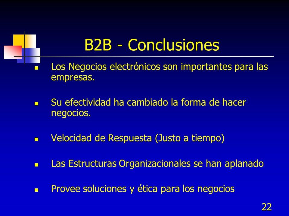 22 B2B - Conclusiones Los Negocios electrónicos son importantes para las empresas. Su efectividad ha cambiado la forma de hacer negocios. Velocidad de