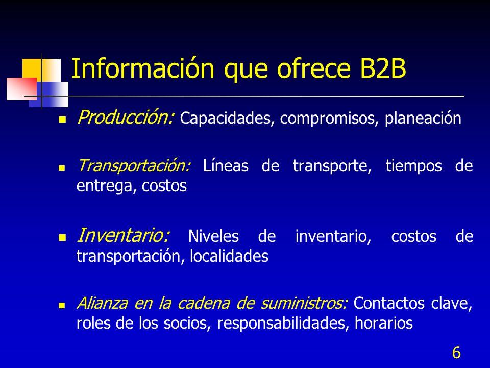 7 Información que ofrece B2B Competidores: Benchmarking, ofertas de productos competitivos, mercado compartido Ventas y Mercadotecnia: Puntos de venta, promociones Desempeño de la cadena de suministros: Descripciones de proceso, medidas de desempeño, calidad, tiempos de entrega, satisfacción del cliente.