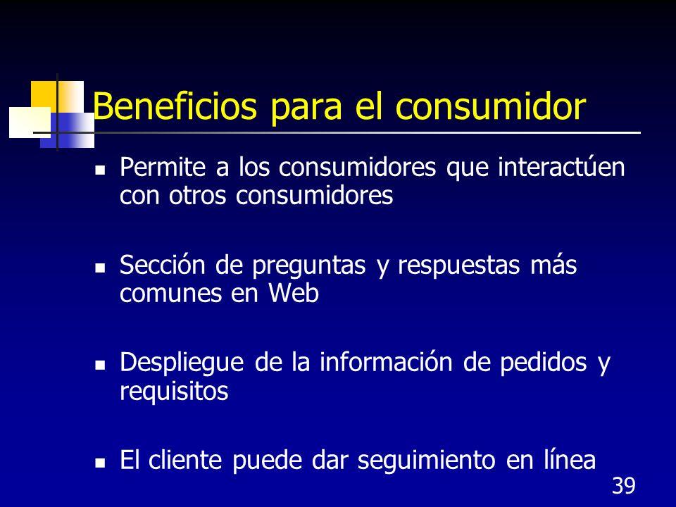 39 Beneficios para el consumidor Permite a los consumidores que interactúen con otros consumidores Sección de preguntas y respuestas más comunes en Web Despliegue de la información de pedidos y requisitos El cliente puede dar seguimiento en línea