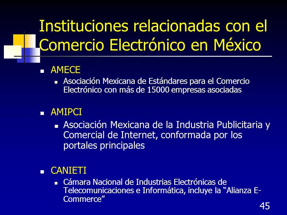 45 Instituciones relacionadas con el Comercio Electrónico en México AMECE Asociación Mexicana de Estándares para el Comercio Electrónico con más de 15000 empresas asociadas AMIPCI Asociación Mexicana de la Industria Publicitaria y Comercial de Internet, conformada por los portales principales CANIETI Cámara Nacional de Industrias Electrónicas de Telecomunicaciones e Informática, incluye la Alianza E- Commerce