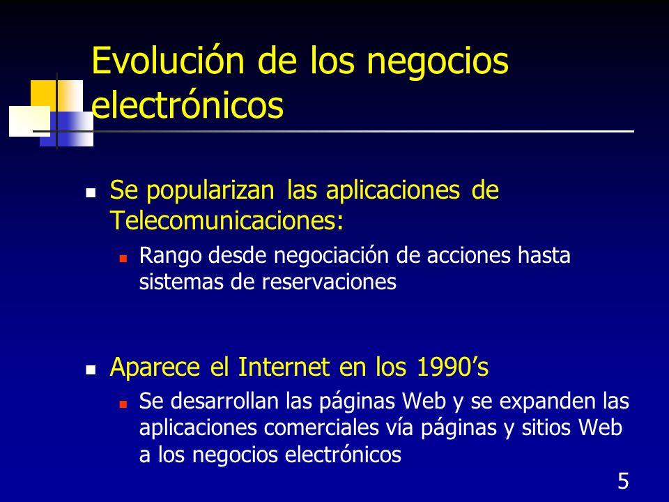 5 Evolución de los negocios electrónicos Se popularizan las aplicaciones de Telecomunicaciones: Rango desde negociación de acciones hasta sistemas de reservaciones Aparece el Internet en los 1990s Se desarrollan las páginas Web y se expanden las aplicaciones comerciales vía páginas y sitios Web a los negocios electrónicos