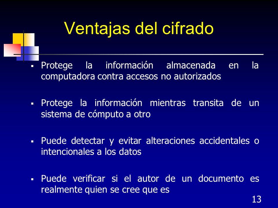 13 Ventajas del cifrado Protege la información almacenada en la computadora contra accesos no autorizados Protege la información mientras transita de