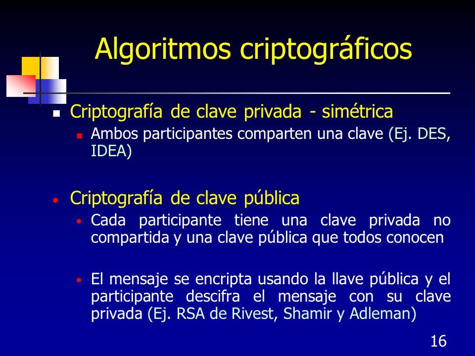 16 Algoritmos criptográficos Criptografía de clave privada - simétrica Ambos participantes comparten una clave (Ej. DES, IDEA) Criptografía de clave p