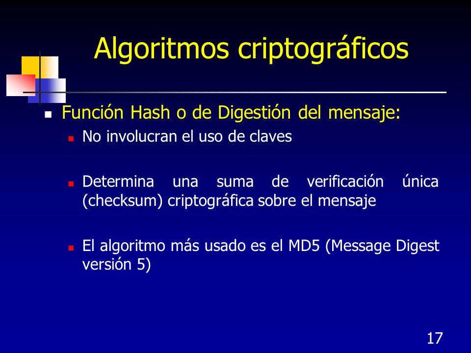 17 Algoritmos criptográficos Función Hash o de Digestión del mensaje: No involucran el uso de claves Determina una suma de verificación única (checksu