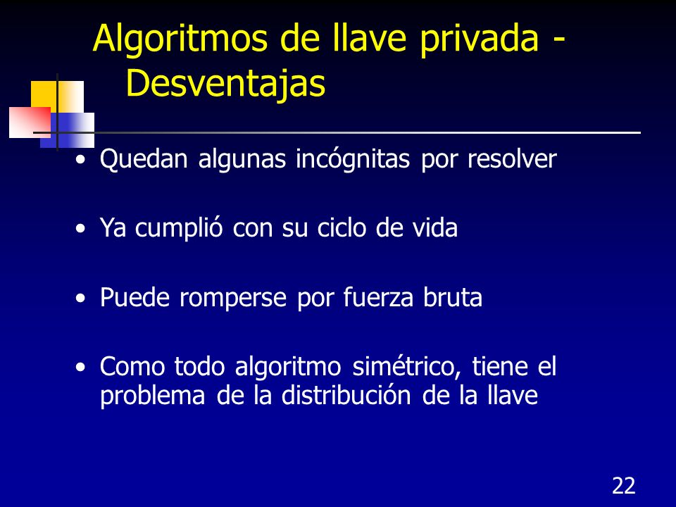 22 Algoritmos de llave privada - Desventajas Quedan algunas incógnitas por resolver Ya cumplió con su ciclo de vida Puede romperse por fuerza bruta Co