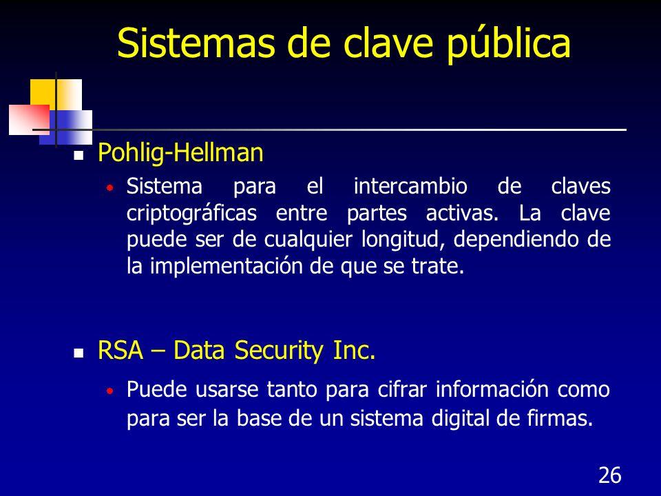 26 Pohlig-Hellman Sistema para el intercambio de claves criptográficas entre partes activas. La clave puede ser de cualquier longitud, dependiendo de