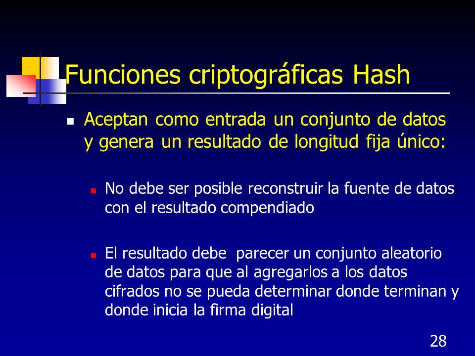 28 Funciones criptográficas Hash Aceptan como entrada un conjunto de datos y genera un resultado de longitud fija único: No debe ser posible reconstru