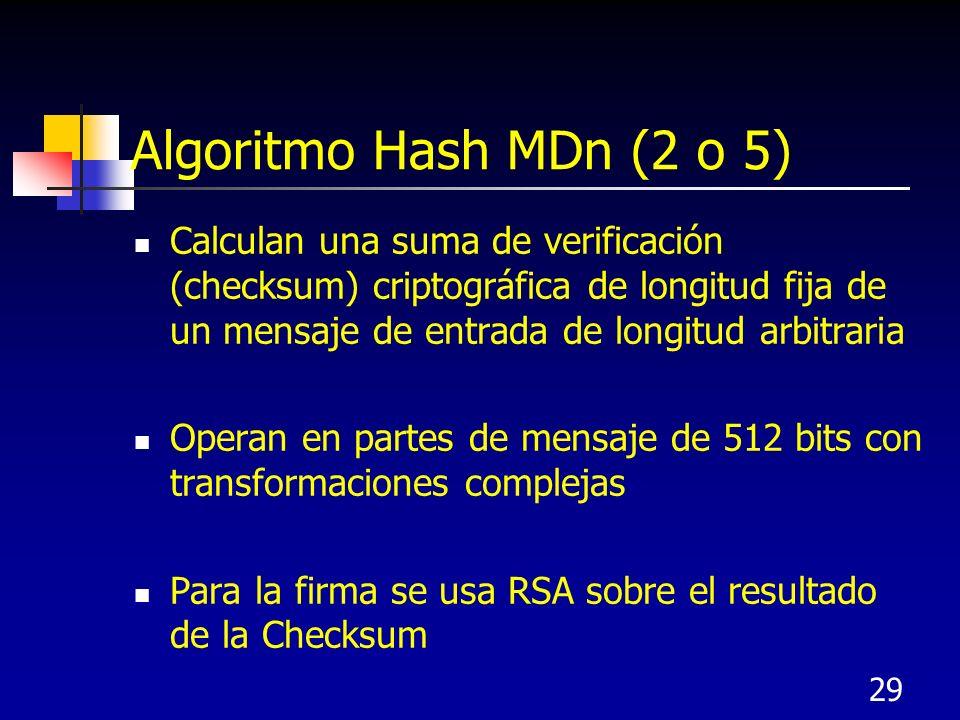 29 Algoritmo Hash MDn (2 o 5) Calculan una suma de verificación (checksum) criptográfica de longitud fija de un mensaje de entrada de longitud arbitra