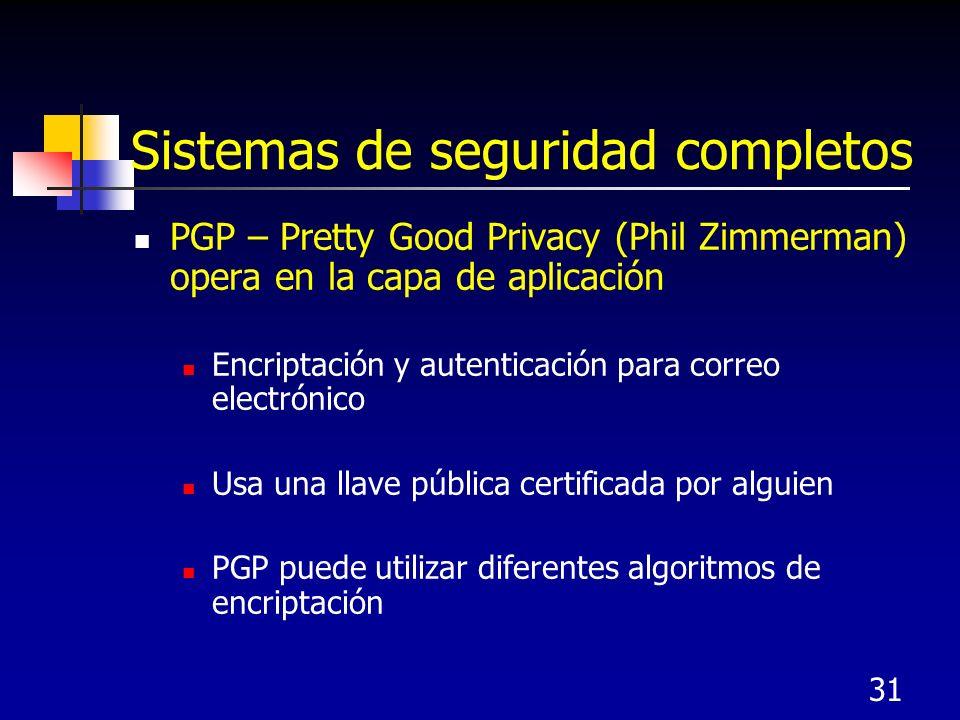 31 Sistemas de seguridad completos PGP – Pretty Good Privacy (Phil Zimmerman) opera en la capa de aplicación Encriptación y autenticación para correo