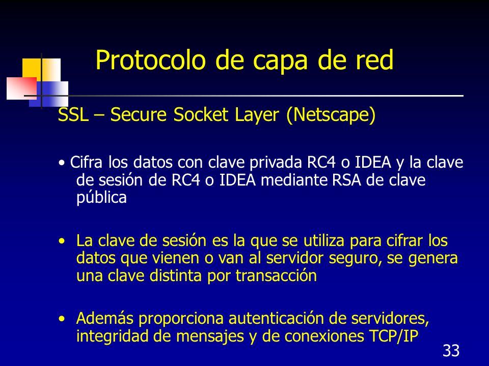 33 Protocolo de capa de red SSL – Secure Socket Layer (Netscape) Cifra los datos con clave privada RC4 o IDEA y la clave de sesión de RC4 o IDEA media
